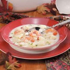 """Seafood Chowder -- Made this tonight, and it was so delicious!  I used only the inexpensive seafood and bulked it up with extra potatoes and some frozen corn.  It was perfect for my big family, and """"not too seafood-y,"""" as my kids said."""