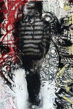 Robert Boynes,    'Urban Tattoo' 2011,    acrylic on canvas,  120 x 80cm. Via Brenda May Gallery