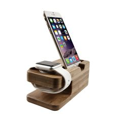 Amazon.com: eTopxizu Bamboo Wood Apple Watch Stand, iPhone 5s 6plus Charging Station and Dock Multi Device Cord Organizer Stand and Charging Station with Built-In Insert Slots: Cell Phones & Accessories