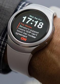 The Samsung Gear S2 has custom watch faces from partners that can combine time and, in this case, news briefs.