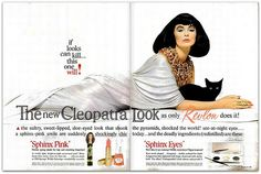 1962 Vintage Advert - The New Cleopatra Look with Sphinx Pink Lipstick and Sphinx Eyes from Revlon