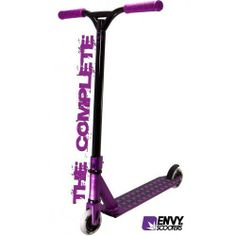 "Blunt Envy Complete Scooter PURPLE by Blunt Envy Complete Scooter. $1422.99. The New Envy ""The Complete"" freestyle scooter is 100% Envy Custom right out of the box. Features all of the top end blunt components like the New Envy Deck, Stripper Bars, Threadless Forks, Flex Brake and Metal Core Wheels!"