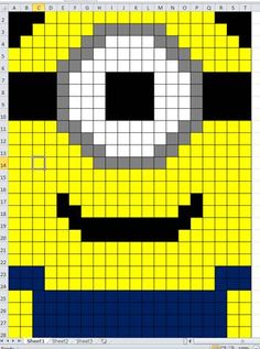 Minion Crochet/Knit Blanket.  Each square can be knitted or crocheted then all sewn together.