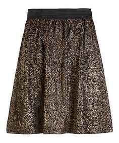 Gold (Gold) Gold Foil Jersey Skater Skirt   291383393   New Look. Perfect with a t-shirt, black blazer & statement necklace. £17.99