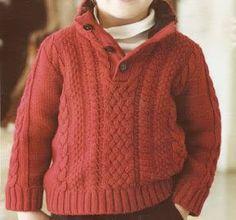 hermoso sueter para niño de 4 a 6 años lindas trenzas tejidas OjoconelArte.cl | Kids Knitting Patterns, Knitting For Kids, Baby Knitting, Baby Pullover, Crochet For Boys, Knitwear Fashion, Boys Sweaters, Baby Kind, Knit Crochet