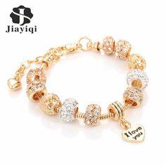 Jiayiqi Fashion European Beads Bracelet Vintage DIY Crystal Silver Golden Color Jewelry Snake Chain Charm Bracelets for Women