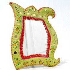 Miroir à poser 'arabesk anis -framboise'  29.5 x 23 cm pour la salle de bain,la chambre, au salon,il apportera une note de gaieté