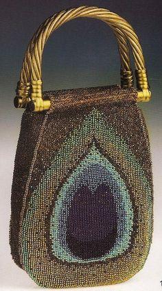 Bead Crochet Peacock Feather Bag
