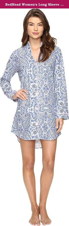 BedHead Women's Long Sleeve Mandarin Collar Nightshirt Indigo Boho Paisley Pajama Top. Pamper yourself in BedHead™ pajamas. Signature cotton nightshirt boasts a fashionable allover print. Solid trim detail throughout. Split mandarin collar. Full button front. Long sleeves. Shirttail hemline. 100% cotton. Machine wash cold and tumble dry low. Imported. Made in the U.S.A. Measurements: Length: 38 in Product measurements were taken using size SM. Please note that measurements may vary by size.