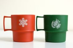 Vintage Tupperware Christmas Mugs.  I have two full sets of these, never used.  My Mom won them at a Tupperware party I gave...