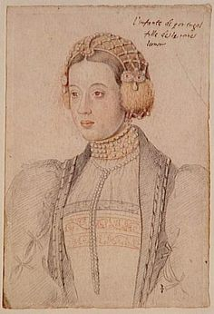 The Infanta Maria, Duchess of Viseu  (1521-1577), daughter of King Manuel I of Portugal and his wife Eleanor of Austria.  Patron of arts and writing.  Considered as a bride for her nephew and cousin Philip II of Spain.  (Three of his four brides were closely related to him.) Separated from her mother when Eleanor married Francois I of France as her 2nd husband, and only spent a few weeks with her thereafter.  Died unmarried.