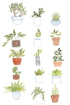 Potted Plants Art Print by foxflowers is part of Plant art print - Buy Potted Plants Art Print by foxflowers Worldwide shipping available at com Just one of millions of high quality products available Watercolor Plants, Watercolor Paintings, Watercolor Journal, Illustration Blume, Doodles, Plant Art, Hanging Plant, Hanging Baskets, Plant Drawing