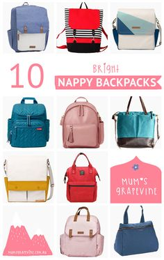 10 brightly coloured nappy backpacks  #nappybags #nappybackpacks #brights #bold #buyingguide Nappy Backpack, Nappy Bags, Colorful Backpacks, Prams, Baby Essentials, Baby Gear, Bright Colors, Car Seats, Strollers