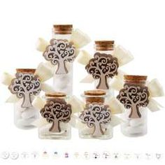 Bomboniere albero della vita - decorazione in legno con cuori Confetti, Wedding Gifts, Place Cards, Place Card Holders, Baby Shower, Glass Boat, Crystals, Canisters, Baby Sprinkle Shower