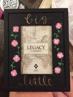 Big/Little picture frame I painted!  Big little crafts sorority crafts. Tri delta auburn