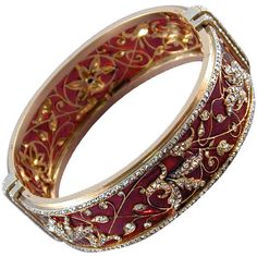BOUCHERON Plique a Jour Enamel Diamond Bangle 1875 Circa at 1stdibs ❤ liked on Polyvore