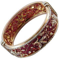 BOUCHERON Plique a Jour Enamel Diamond Bangle 1875 Circa ❤ liked on Polyvore featuring jewelry, bracelets, accessories, jewels, rings, bracelets & bangles, diamond bracelet, bracelet bangle, hinged cuff bracelet and rose bracelet
