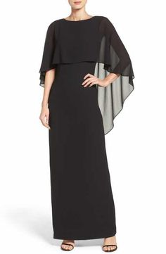 Vince Camuto Cape Overlay Gown