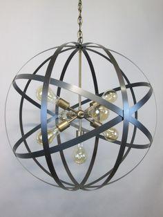 Modern Industrial Orb Chandelier Ceiling Light 24 Inch Sphere Wine Barrel Ring Chandelier 7 Light Sputnik