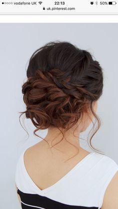 Terrific Beautiful romantic messy curled prom or bridal updo from Jouvence Aveda salon. The post Beautiful romantic messy curled prom or bridal updo from Jouvence Aveda salon…. appeared first . Wedding Hair And Makeup, Hair Makeup, Hairstyle Wedding, Wedding Nails, Wedding Updo With Braid, Makeup Hairstyle, Wedding Updo Hairstyles, Updos For Wedding, Short Hair Wedding Updo