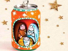 pesebre casero muy original con una lata pesebres caseros hechos con manualidades #christmas #decorations #crafts #diy #pesebre #nativity #recycle #upcycle #reciclar #reutilizar #navidad #decoracion #manualidades #can