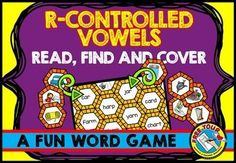 #R-CONTROLLED #VOWELS: READ, FIND AND COVER #WORD #WORK: #READ, FIND AND COVER -#READ WORD AND #MATCH IT WITH #PICTURE. This resource is fun and will surely engage students! In this pack you will find 5 picture mats (one for each r-controlled vowel sound: ar, er, ir, or & ur) and the corresponding word cards (40 in total).   #literacy #center #phonics #game #fun