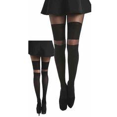 2 brede strepen over de knie panty zwart