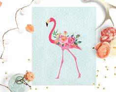 floral-flamingo-printable-wall-art