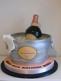 Laurent Perrier Champagne Bucket Birthday Cake with edible bottle, ice and labels