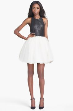 Alice + Olivia 'Ginnifer' Leather Bodice Party Dress | Nordstrom