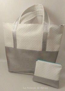 #ensemble sac #cabas en simili cuir blanc et argent et sa #pochette assortie #lafaiseusedebetises