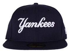 Custom New York Yankees Script Navy 59Fifty Fitted Baseball Cap by NEW ERA  x MLB Fitted 0f4a496ba