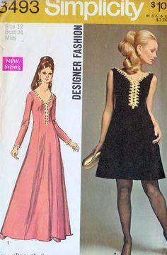 "1960s Dress Pattern Vintage Sewing Pattern, Cocktail Dress, Party Dress, Mod, Simplicity 8493 bust 34"" on Etsy, $8.00"