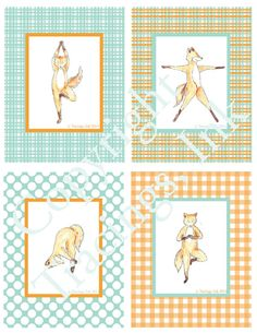 Zen Fox Yoga Cards-PDF Printable-Standing Series by TracingsInk