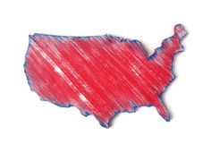 USA map wooden wall decor hand painted in red by FischerFineArts, $34.00 #USAmap #homedecor