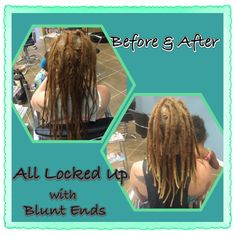 Before & After Maintenance.  And at 10 months old,  Brittany decided she wanted her ends blunted. So we pulled in her ends and now her locs are finally locked up.  #dreads #dreadlockmaintenance #caucasiandreadlocks #lockedandblunted