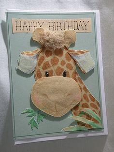 Cute children's birthday card - GIRAFFE