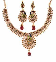 Aaishwarya Polki  Peacock design Necklace set @ Rs. 2339/- #necklaceset #polkinecklaceset #peacockjewelry #peacocknecklaceset #ethnicjewelry #ethnicnecklaceset #kundanpolkijewelry #fashionjewelry