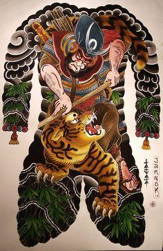 Kato Kiyomasa, tiger, japanese tattoos, Jarno | Tatuata