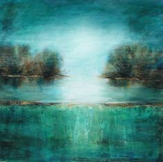 Tree painting teal abstract textured art large canvas teal 40 inch square Lauren Marems on ETSY