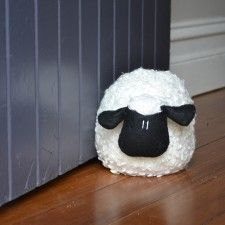 woolly black and white lamb - doorstop