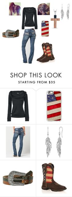 Red, White, and Blue Outfit! by gigglynoelle6 on Polyvore featuring Miss Me, Durango, Casetify and M&F Western