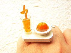 Miniature Food Ring Making Orange Juice by SouZouCreations on Etsy, $12.50