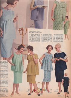 Vintage Maternity Fashion Catalog Pages from 1961 Spiegel Catalog for Spring Summer - Evening Wear and Day Wear