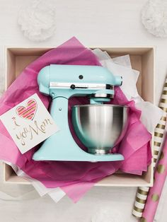 Just what Mom needs to make all those tasty treats—a KitchenAid mixer in Target-exclusive ice blue.