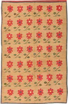 View this item and discover similar for sale at - Bessarabian rug, Romania, circa Lovely little peonies on stems repeat in rows across the deep tan ground of this charming antique Bessarabian Kilim. Cost Of Carpet, Rugs On Carpet, Red And Green Make, Triangular Pattern, Diy Carpet Cleaner, Rug Inspiration, Floor Rugs, Carpet Runner, Kilim Rugs