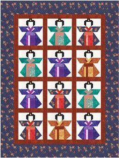 quilting foundation paper piecing | Quilting: Kimono Doll paper pieced quilt