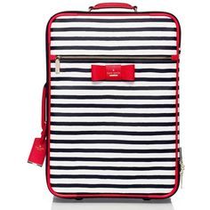 Kate Spade Julia Street Stripe International Carry-On ($478) ❤ liked on Polyvore featuring bags and luggage