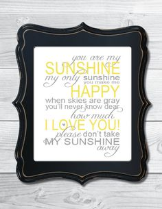You Are My Sunshine - Nursery Digital Art Print - Gray and Yellow. $10.00, via Etsy.