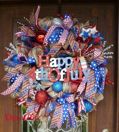 FIREWORKS and SPARKLE PATRIOTIC Wreath by decoglitz on Etsy